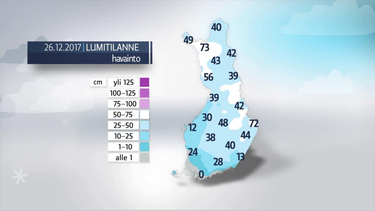 Lumitilanne Suomessa 26. joulukuuta.