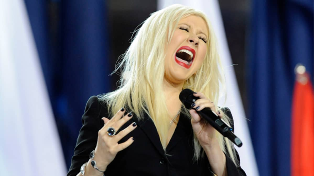 Christina Aguilera på Super Bowl