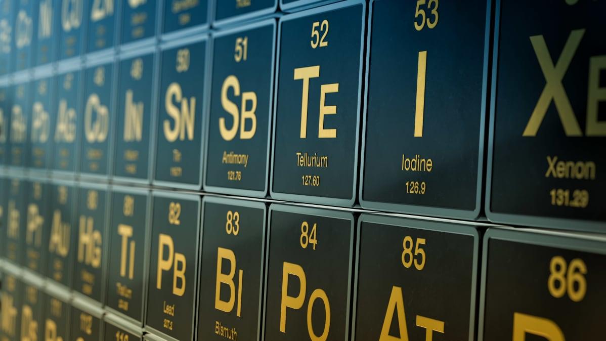 Kuva alkuaineiden jaksollisen järjestelmän taulukosta.