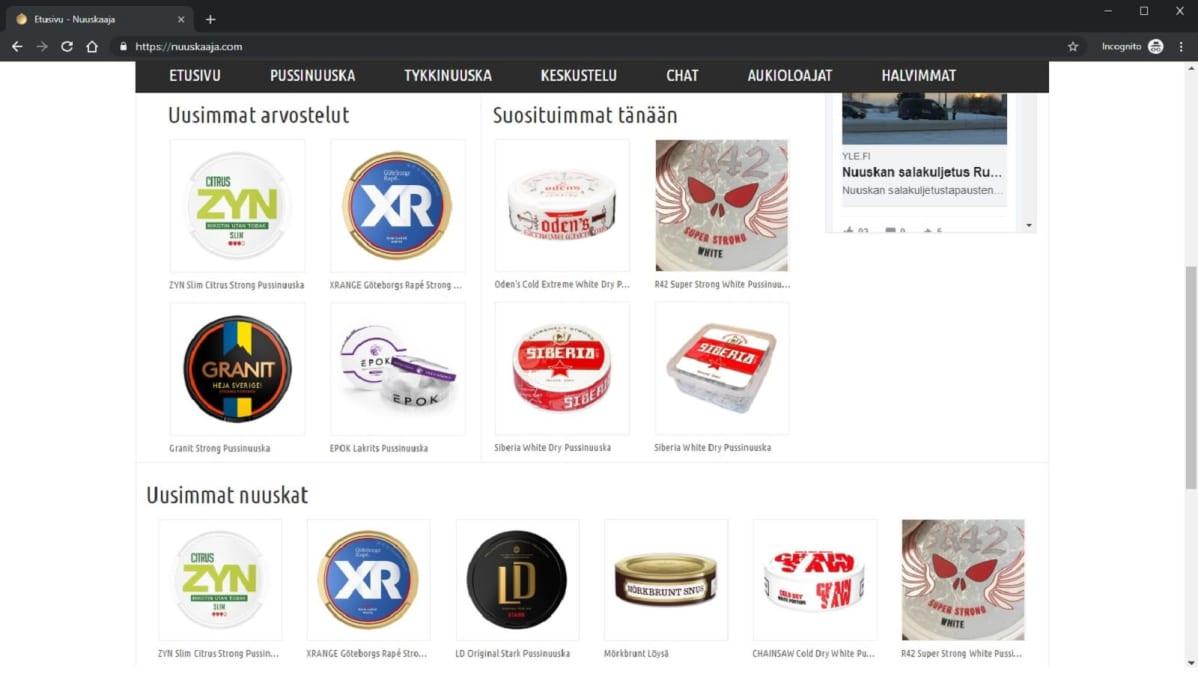 """Ruutukaappaus nuuskaaja.com-sivustolta 23.8.2019. Kuvassa """"Suosituimmat tänään"""" osiossa nuuskia, joissa nikotiinia yli 20mg/g."""