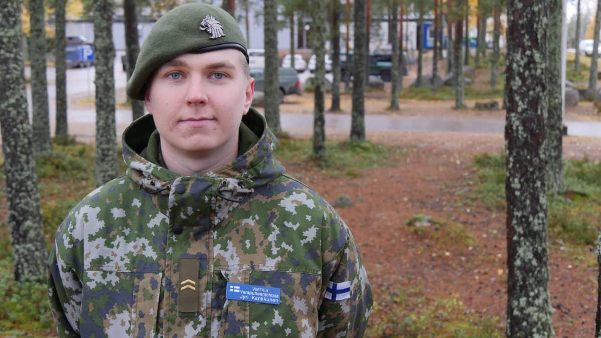 Karjalan prikaatin varusmiestoimikunnan varapuheenjohtaja alikersantti Jyri Kankkunen.