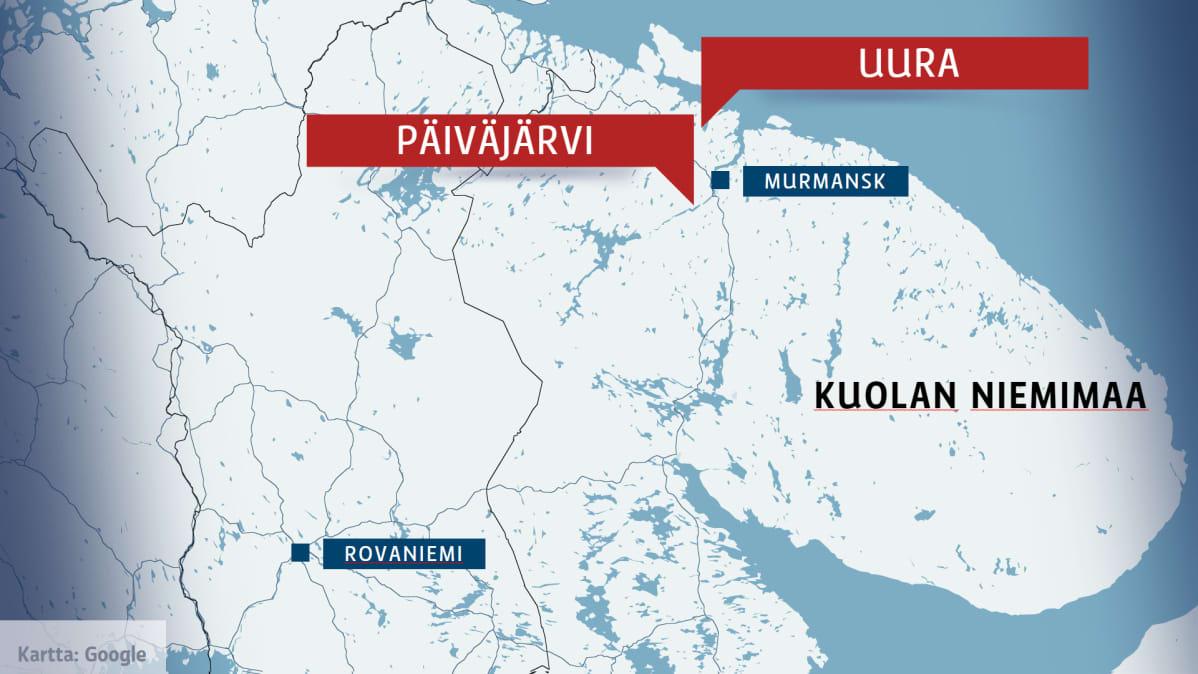 Karttagrafiikka, jossa Murmanskin sekä Päivärven ja Uuraan kylien sijainnit Kuolan niemimaalla.