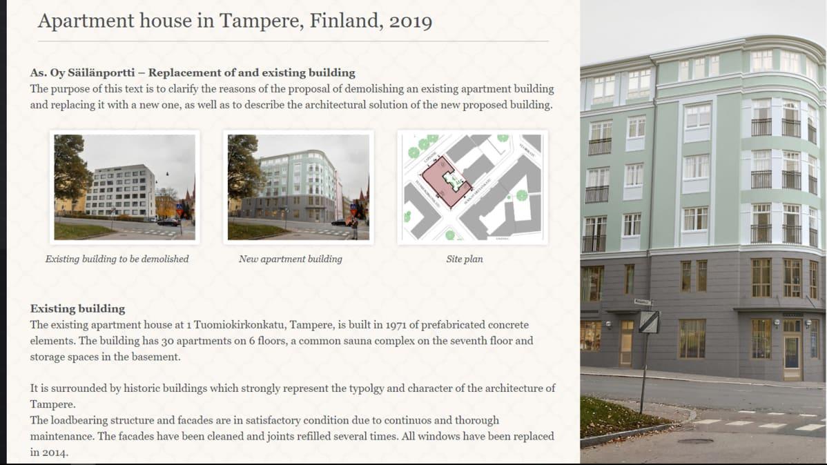 Lapintiellä sijaitsevan talon suunnitelmakuvan kuvakaappaus arkkitehtitoimiston nettisivulta