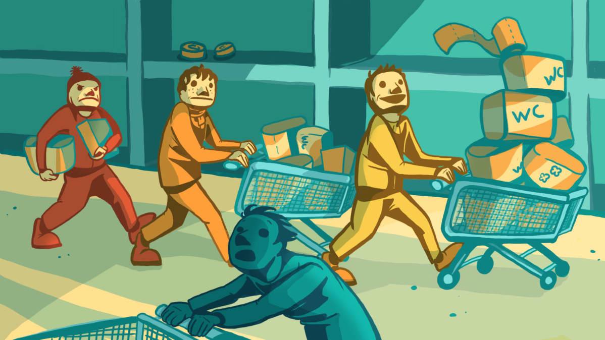 Piirros ihmisistä ostamassa paljon tavaraa kaupasta.