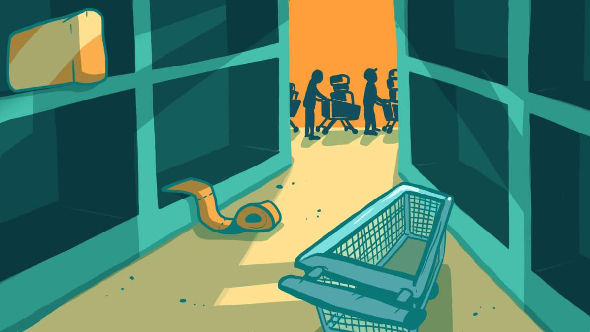Piirros tyhjistä kaupan hyllyistä, kauempana näkyy ihmisiä jonossa ostoskärryineen.