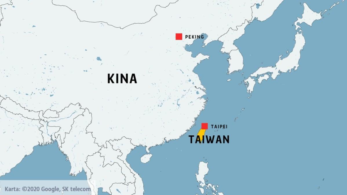 Karta över Taiwan och Kina.
