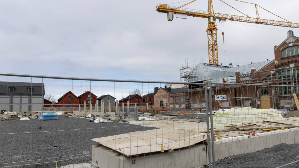 Oulun torihotellin rakennustyömaa