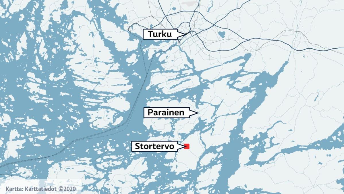 Kartta johon merkattu Stortervo eli Iso-Tervo.