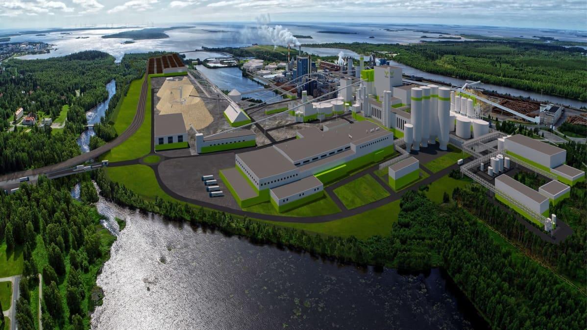 Kemiin suunniteltu biotuotetehdas sijoittuisi nykyiselle tehdasalueelle.