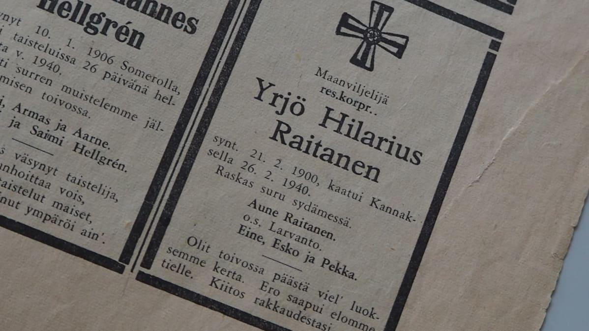 Lehti-ilmoitus maanviljelijä Yrjö Koskisen kuolemasta.
