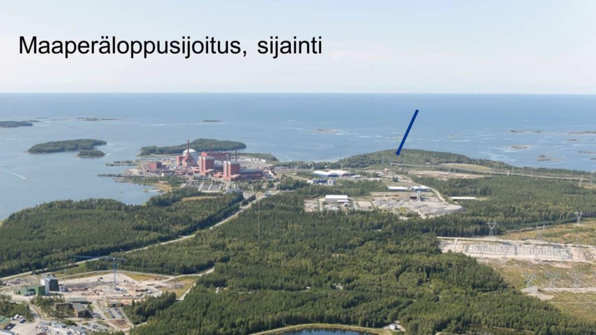 Olkiluodon ydinvoimalaitosalueelle suunniteltava loppusijoitustila.
