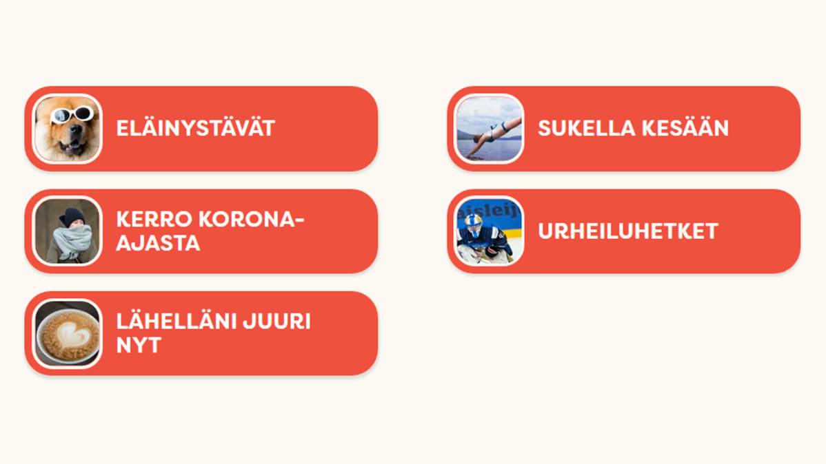 Kuvakaappaus Lahjoita puhetta -sivulta: Valittavien aiheiden lista.