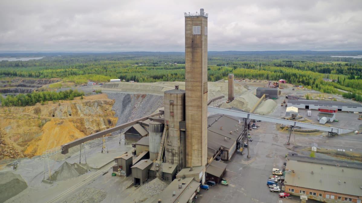 Pyhäsalmen kaivosalue ilmakuvassa syksyllä 2020