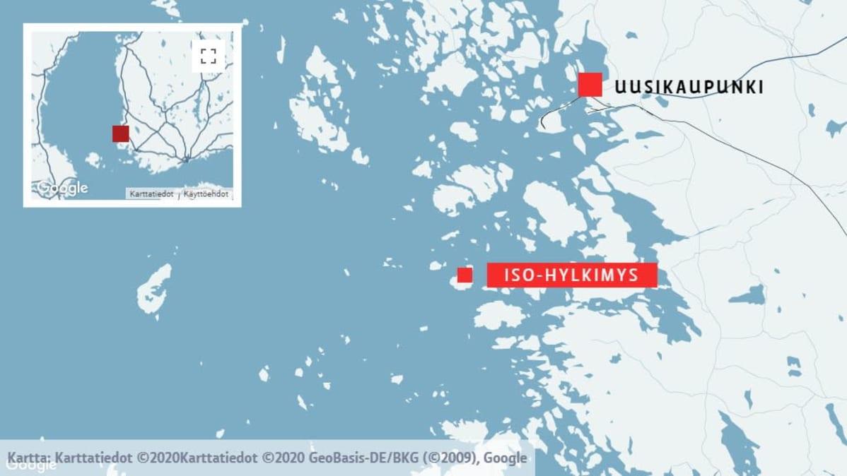 Kartta Uudenkaupungin saaristosta.