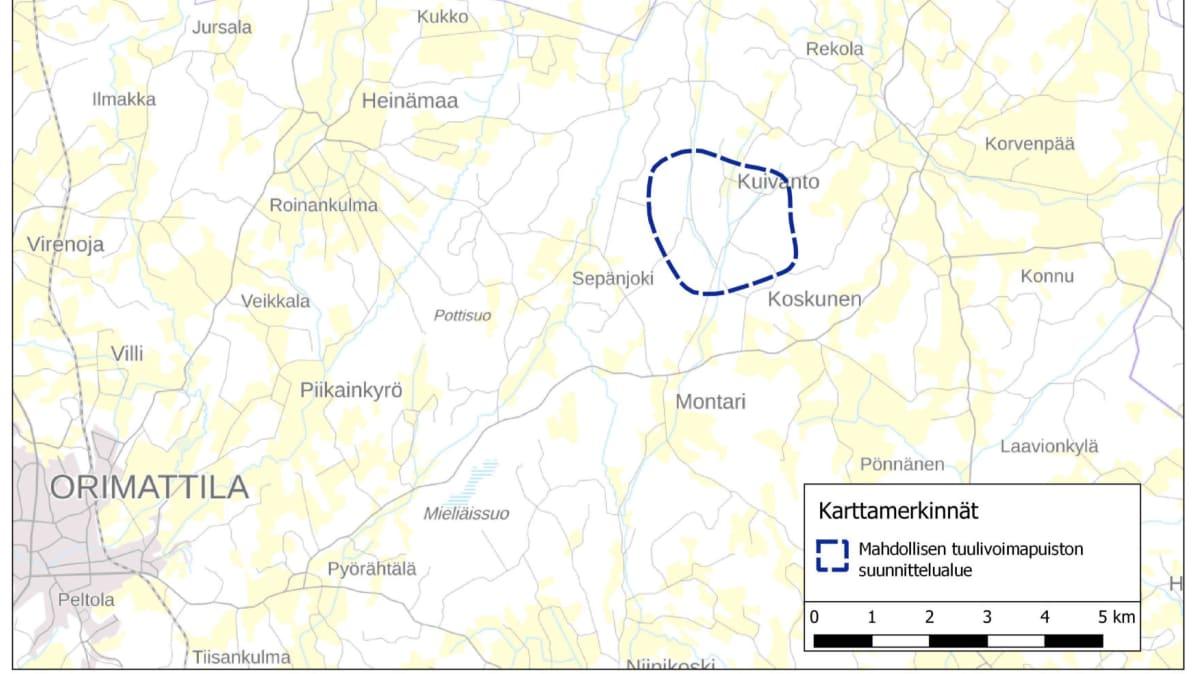 Kartassa ympyröitynä Orimattilaan suunnitteilla oleva tuulivoimapuisto