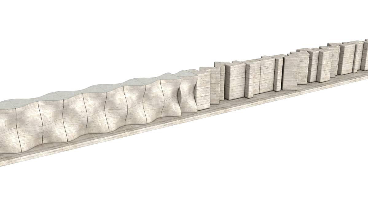 Lappeenrannan Pontuksen koulun ja rautatien väliin tuleva melueste on materiaaliltaan geopolymeerikomposiittia.