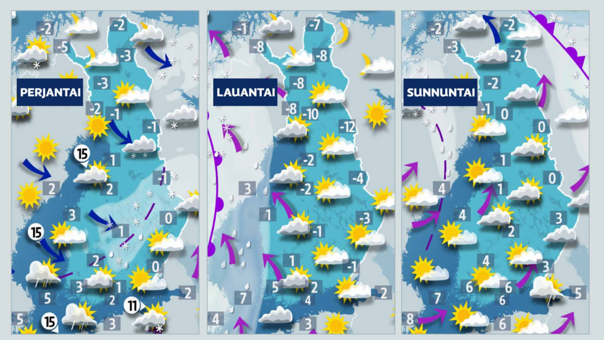 Suomen sääkartat perjantaista lauantaihin 20.-22.11.