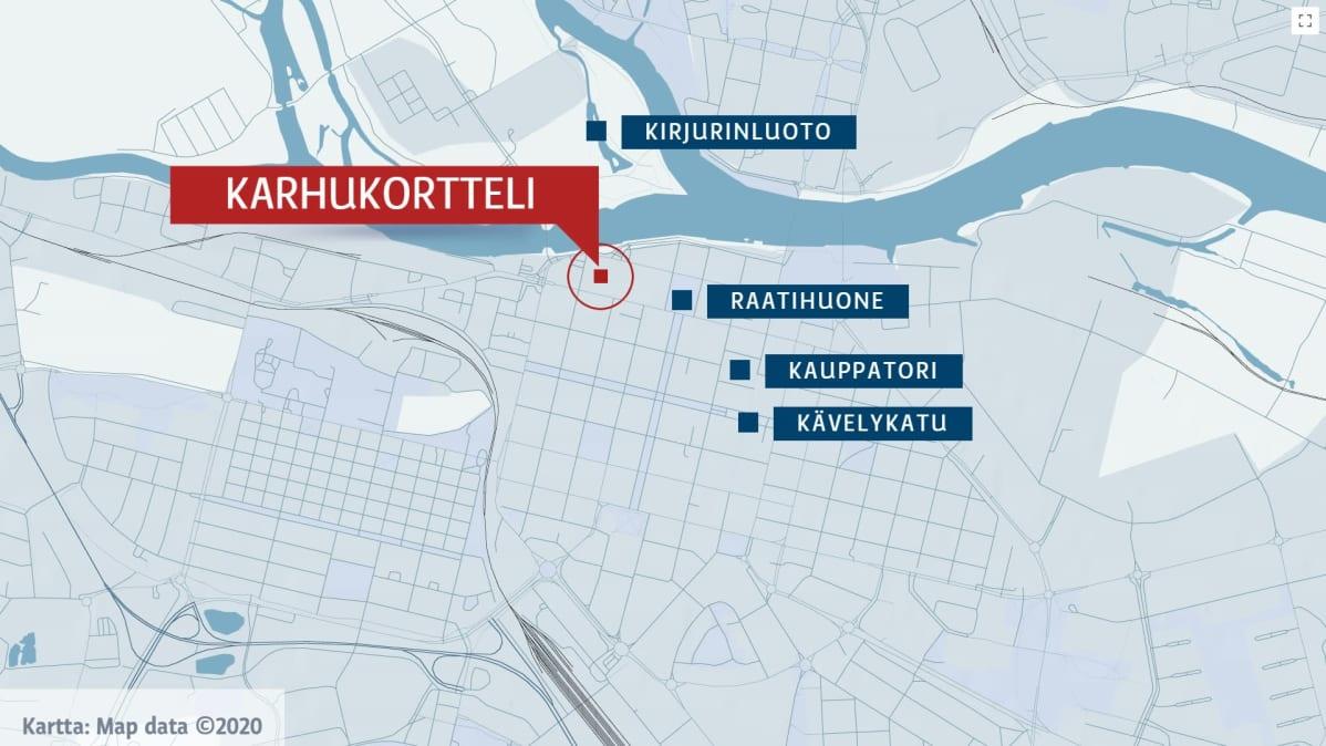 Kartta, Porin keskusta, Karhukortteli.