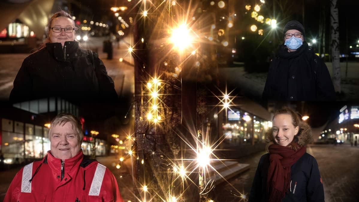 valoja ja keijo wallin janette pulkkinen marja nyrhinen henna honkarita ovat kuvien reunoilla jossa jouluvaloja keskellä