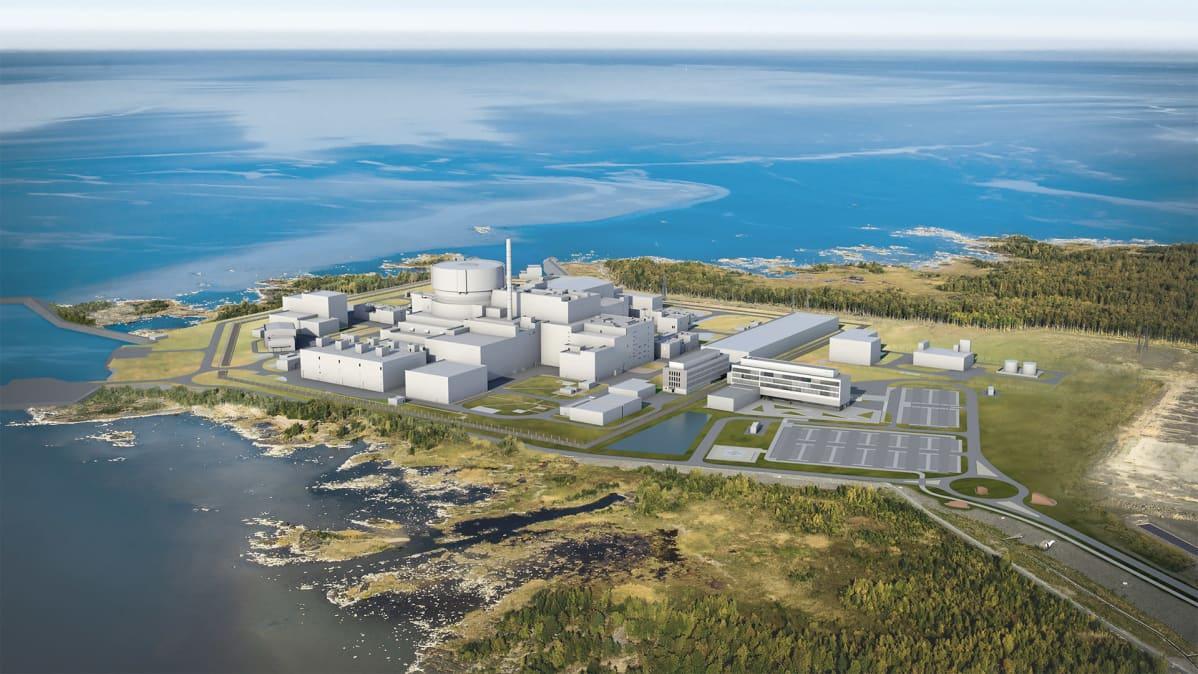 Havainnekuva Pyhäjoen ydinvoimalasta vuodelta 2018