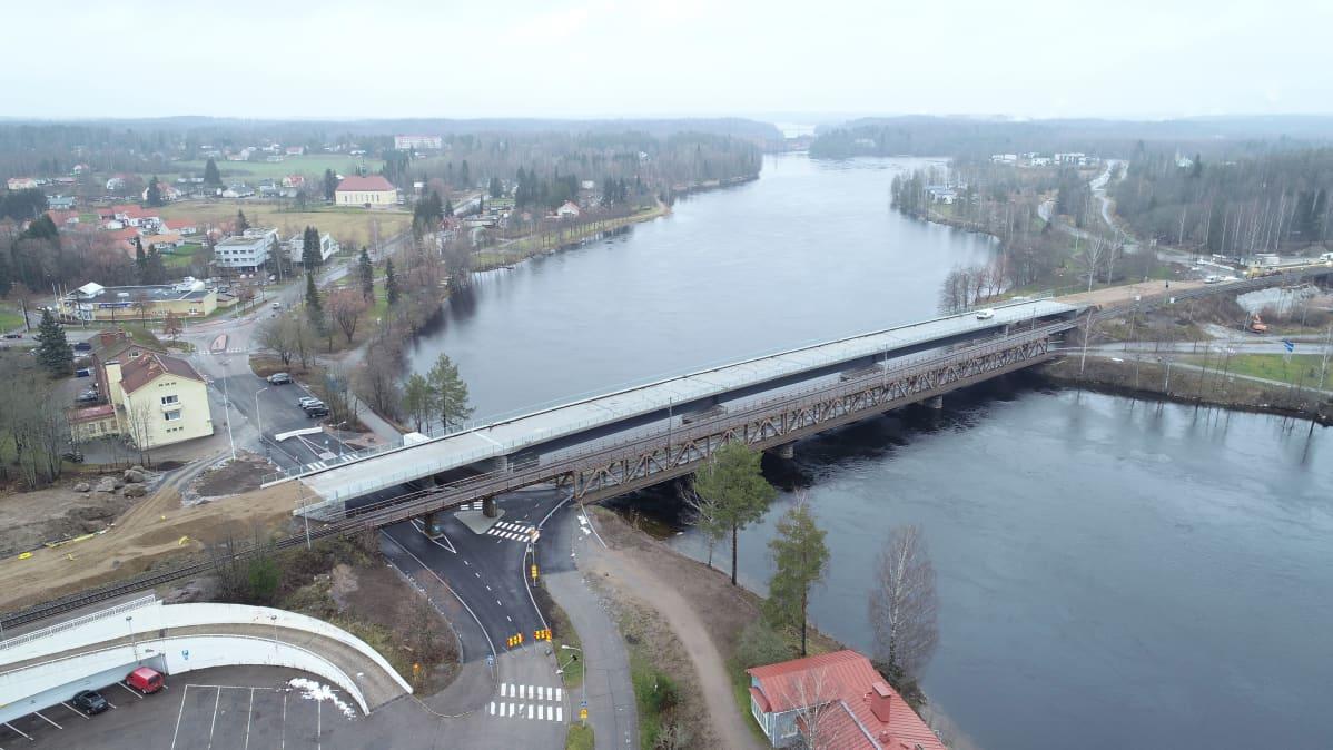 Vuoksen ylitvä silta ilmasta kuvattuna