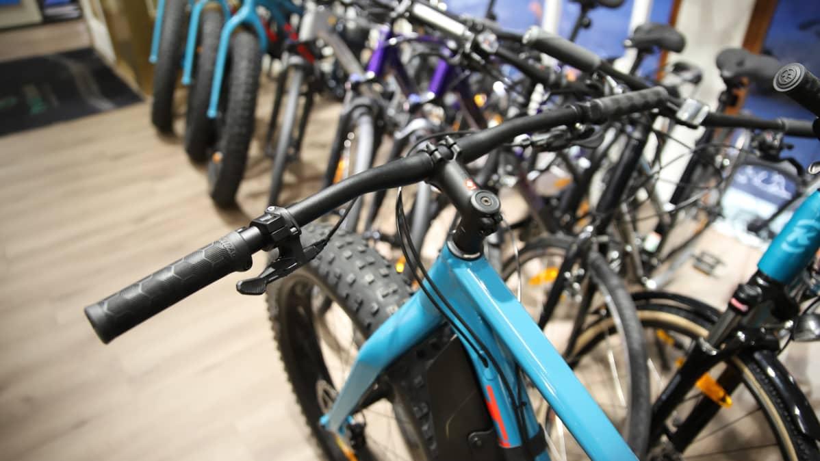 Paksurenkainen sinirunkoinen läskipyörä yläviistoisti kuvattuna