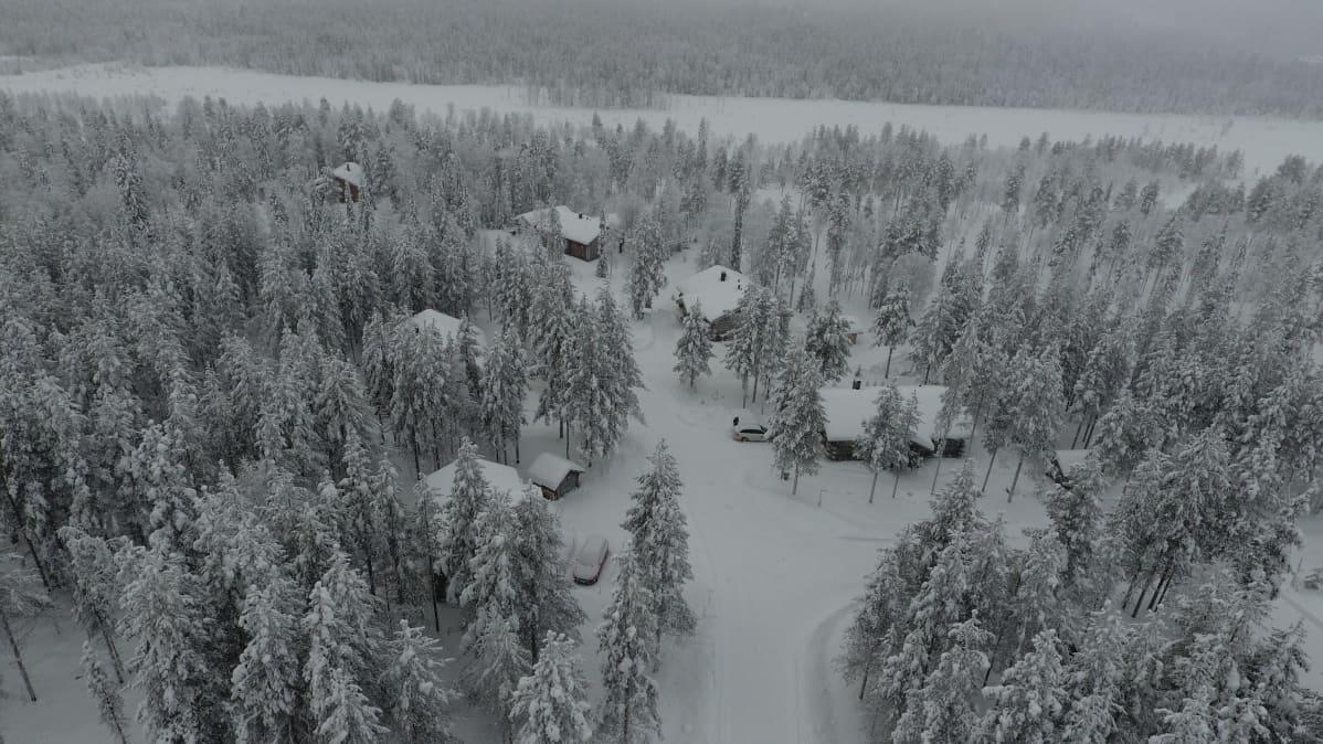 Mökkejä talvisen metsän keskellä ilmasta otetussa kuvassa.