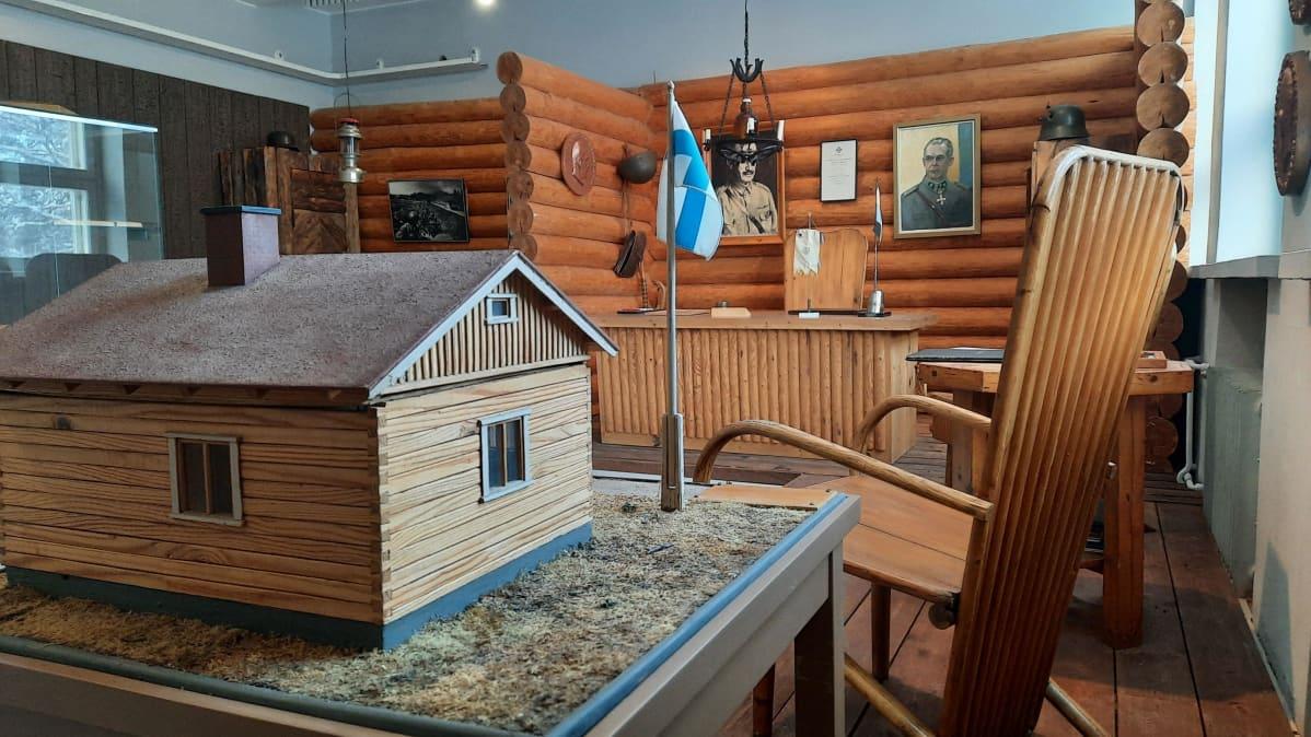 Sodan aikainen huone Kankaanpään kaupunginmuseossa