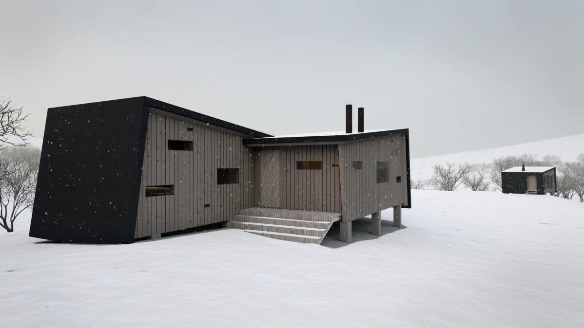 Havainnekuva Urho Kekkosen kansallispuiston uusista tuvista.