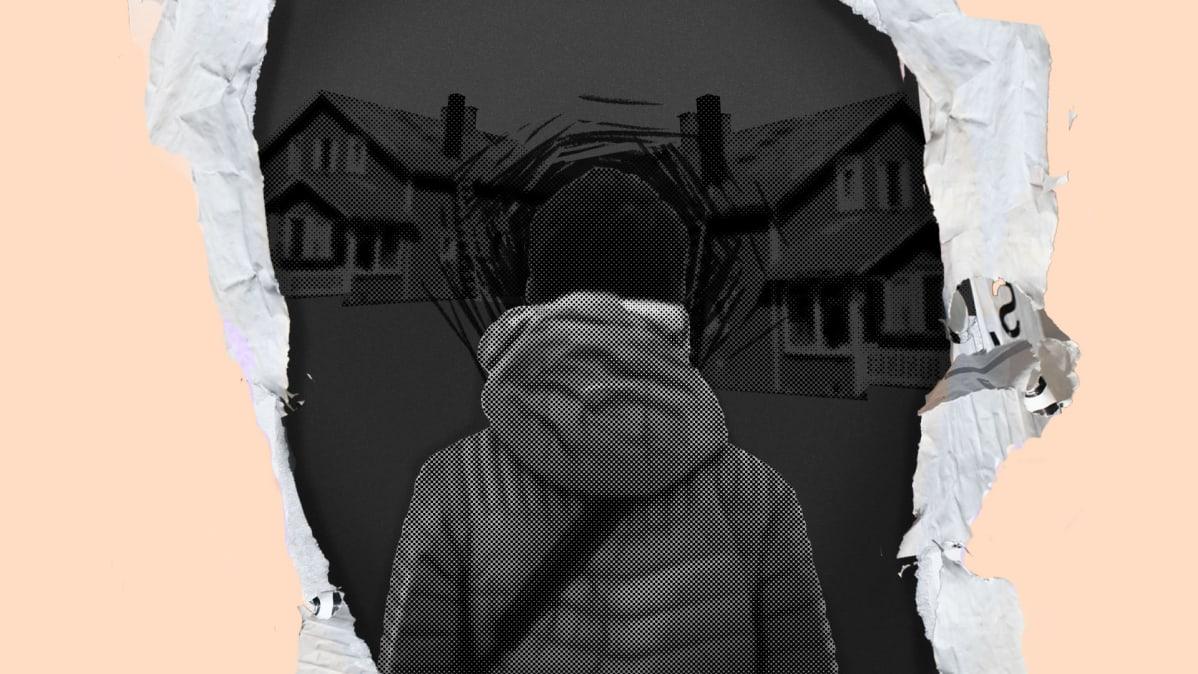 kuvituskuva taloista ja henkilöstä selästäpäin