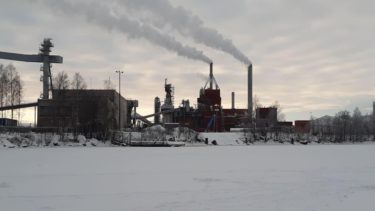 Stora Enson Oulun Nuottasaaren tehtaat talvella.