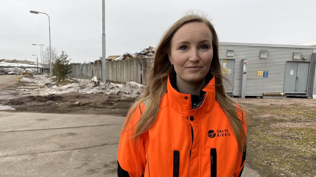 Kiertotalouden kehityskoordinaattori Linda Karlström kuvassa.
