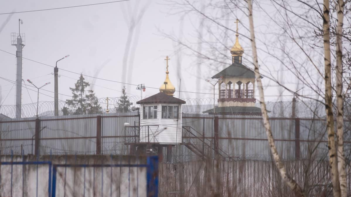 Kirkon kupoli näkyy Pokrovin rangaitussiirtolan aidan takaa.