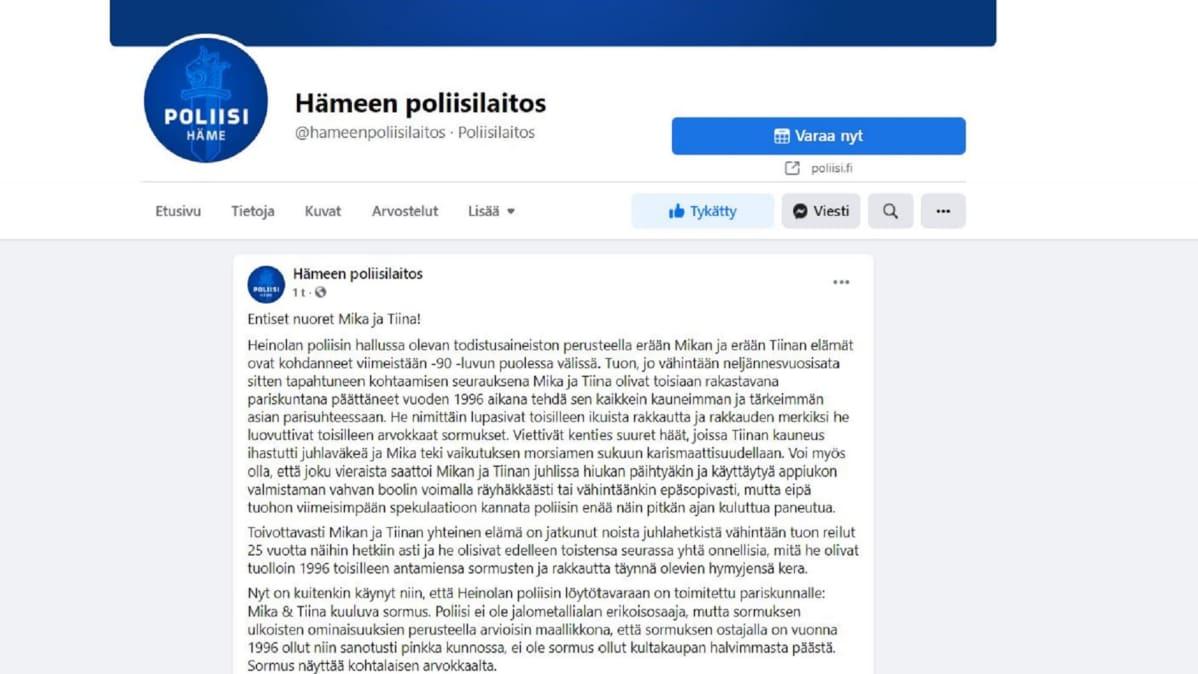 Kuvakaappaus Hämeen poliisin Facebook-päivityksestä