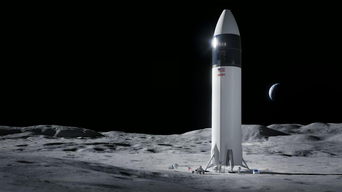 taiteilijan näkemys SpaceX-kuumodulista kuun pinnalla.