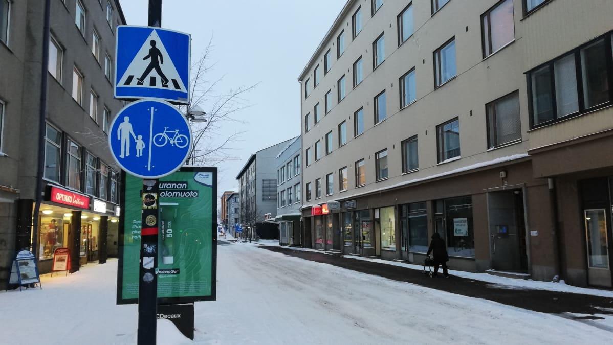 Talvinen Lappeenrannan Valtakatu.