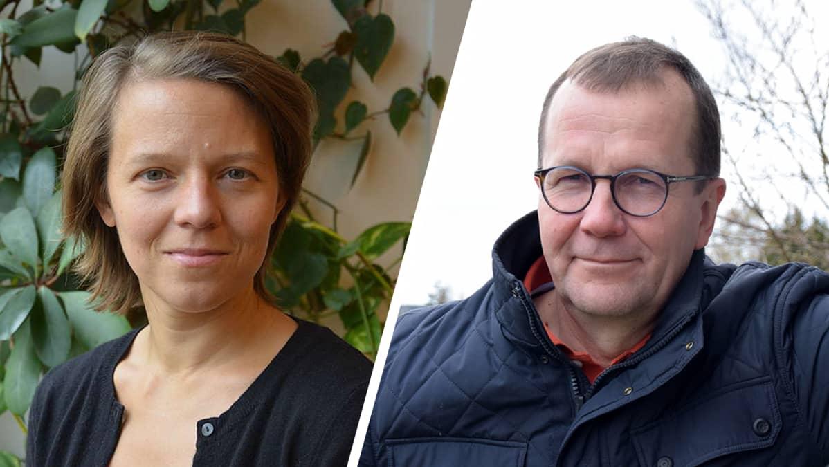 Kuvakombo Sini Eräjäästä ja Pekka Pesosesta.