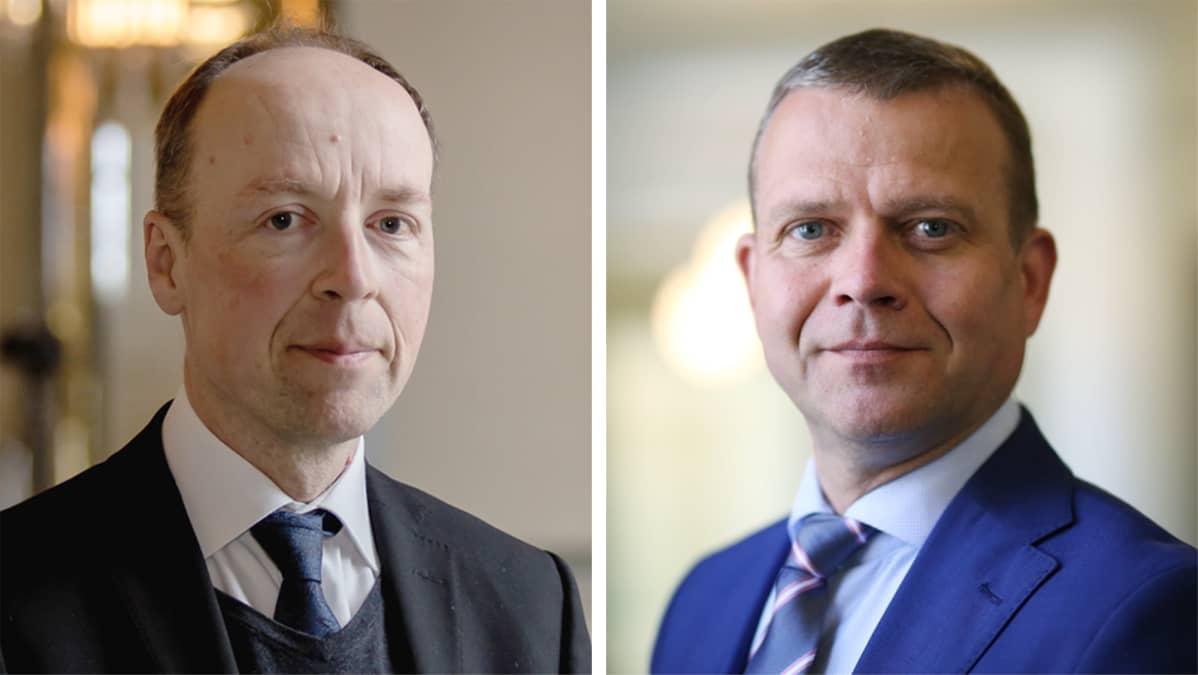 Politikko Jussi Halla-Aho ja politikko Petteri Orpo.