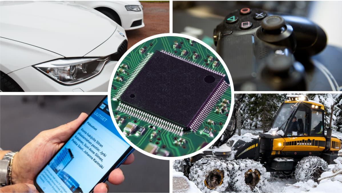 Kuvakollaasi, jossa on kuva henkilöautosta, konsolipeliohjaimesta, älypuhelimesta, metsäkoneesta ja mikrosirusta.