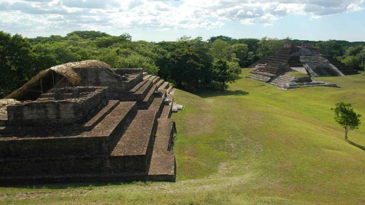 Maya -intiaanien rakennelmia metsän reunassa.