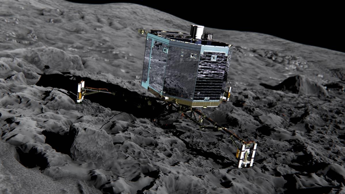 Rosetta-luotain kuun kaltaisella pinnalla.