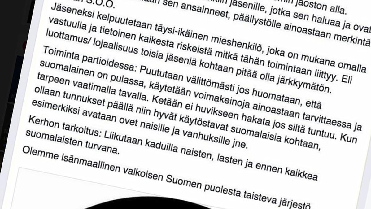 Soldiers of Odin Joensuun jäsenen tekemä päivitys Facebookissa.