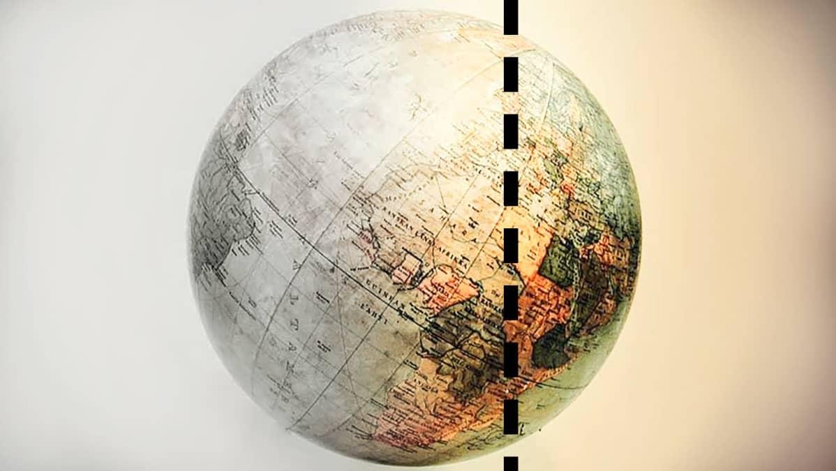 Maapallo, jonka reunaa halkaisee katkoviiva.