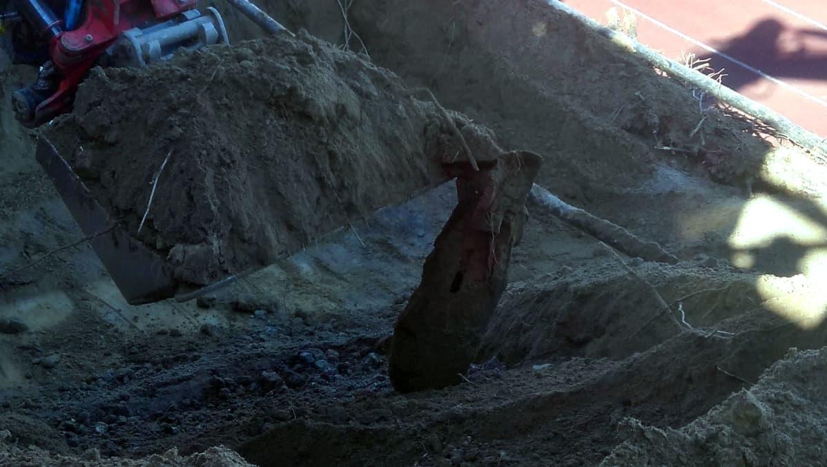 Mikkelin Urheilupuistosta löytyi sodanaikainen räjähde