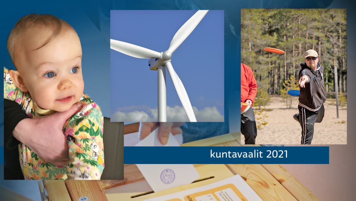 Kuvakollaasissa pieni lapsi, tuulivoimala, frisbeegolfin pelaaja ja äänestysuurna.