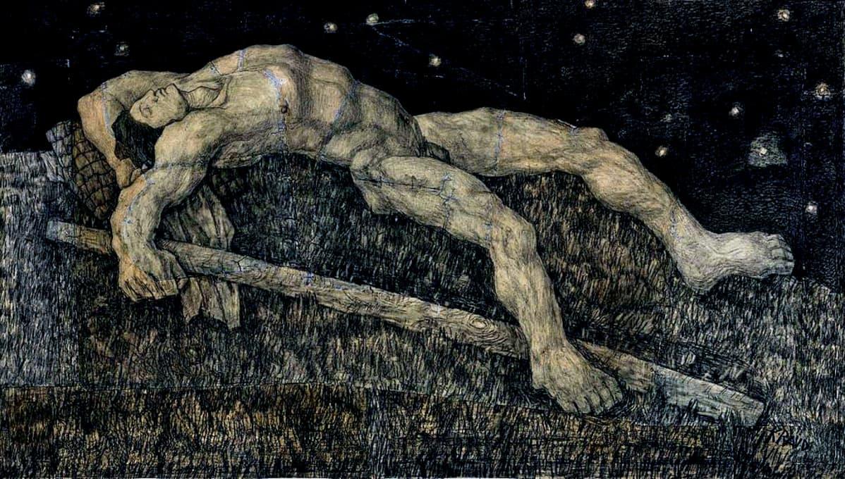 Grafiikkakuva lihaksikkaasta jättiläisestä nukkumassa selällään.