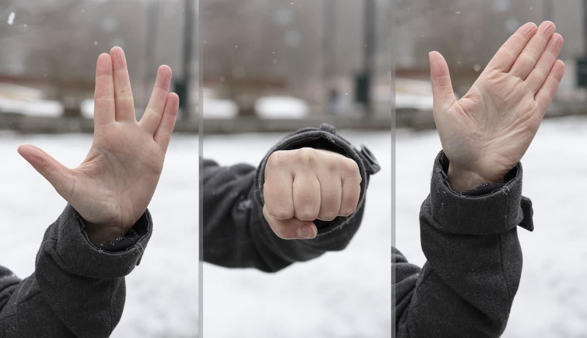 Vasemmalta oikealle erilaisia kättelyn vaihtoehtoja: Star Trekin vulcan-tervehdys, nyrkkitervehdys, käden heilutus.