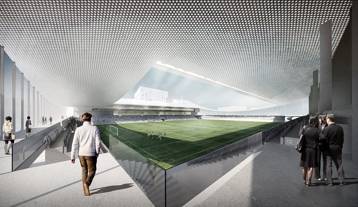 Sisäkuva Tammelan stadionin katsomosta