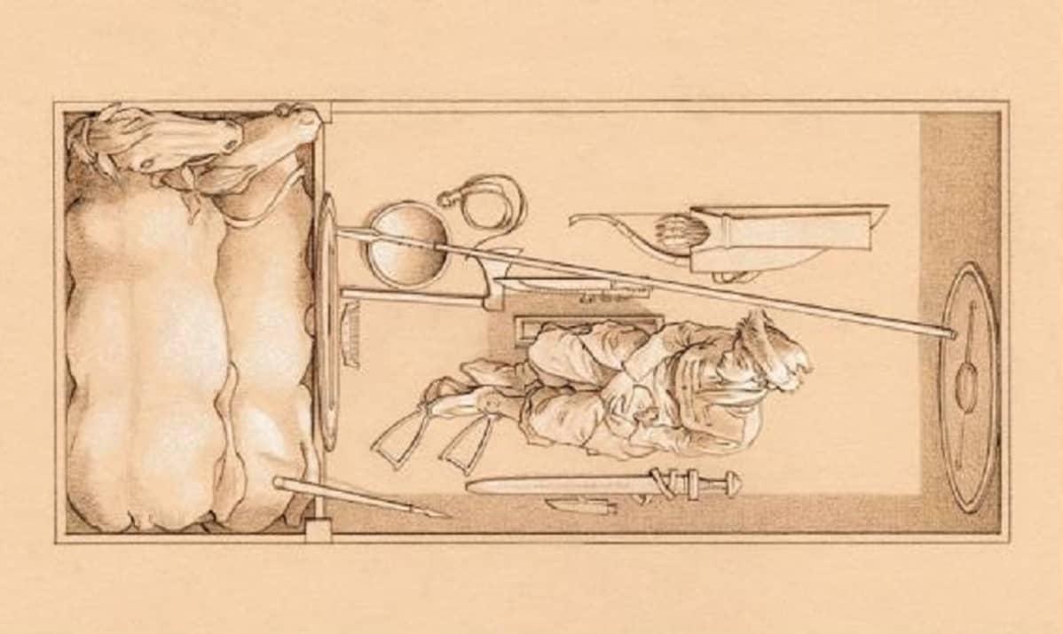 Piirroskuva naisesta, hauta-aarteista ja kahdesta hevosesta