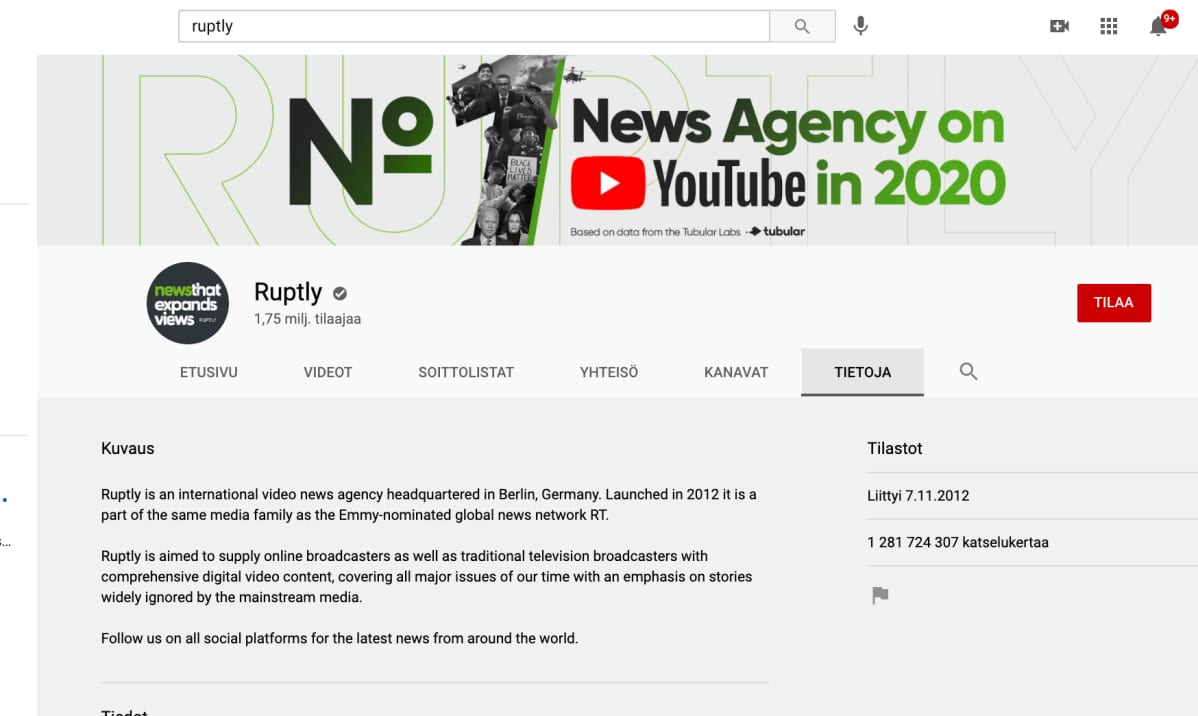 kuvakaappaus Ruptlyn Youtube-tililtä